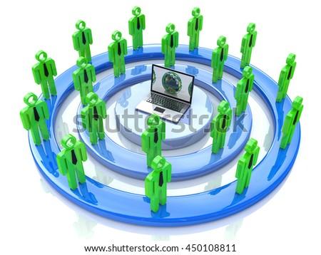 Network or social media concept in the design of information related to communication and people. 3d illustration - stock photo