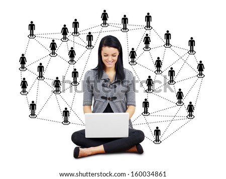 Network or social media concept: young brunette woman or student with laptop surrounded by men and women silhouettes - stock photo