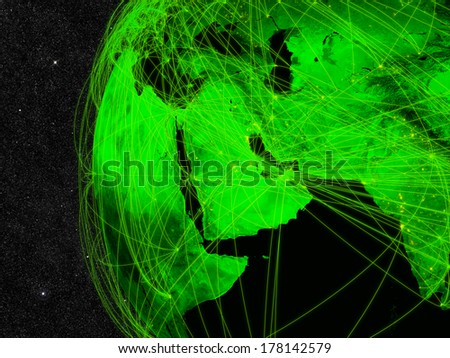 Network over Middle East. Information technology concept. Elements of this image furnished by NASA. - stock photo
