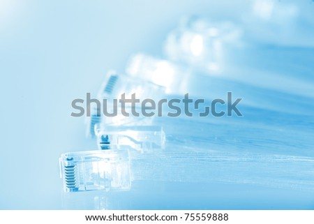 network pc cables and fibre optics - stock photo