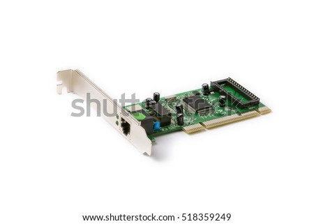 network PCI card for computer on a white background