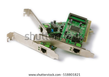 network PCI cards for computer on a white background