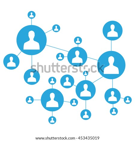 Network raster illustration. Connecting people. Social media marketing. Network icon - stock photo