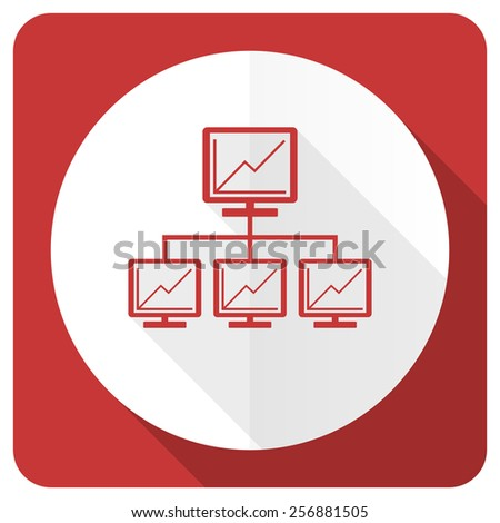 network red flat icon lan sign  - stock photo