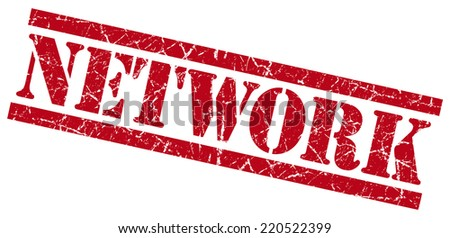 network red grungy stamp on white background - stock photo