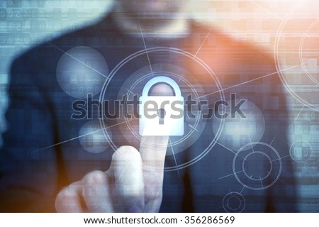 Network Safety Concept with Businessman Touching Closed Padlock as Symbol of Security. Internet Security Technologies. Password Access Protection. - stock photo