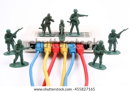 Network security with toy soldiers guarding router