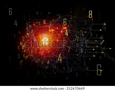 Network series. Abstract arrangement of connected abstract elements suitable as background for projects on networking, science, education and modern technology - stock photo