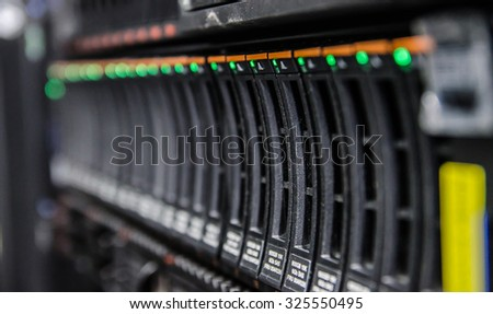 network server in datacenter shallow in dept of field - stock photo