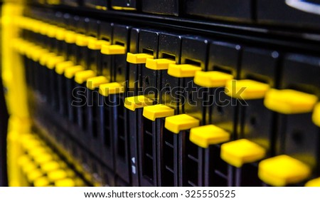 network server in datacenter shallow in dept of field