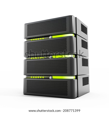 Network server isolated on white background - stock photo