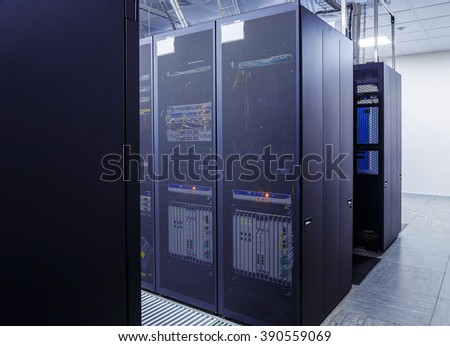 network server room with computers for digital communications and internet