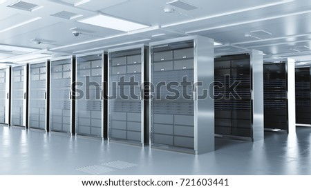 network server room with computers for digital communications and internet,abstract data concept,3d rendering.