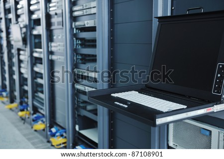 network server room with computers for digital tv ip communications and internet