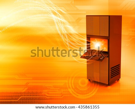 Network server with binary stream. 3d render 	 - stock photo