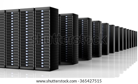 Network servers data center, isolated on white background with reflections.