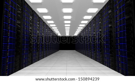 Network servers in data center - stock photo