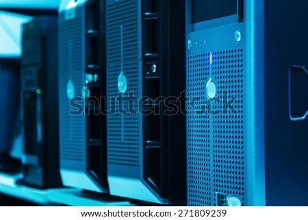 Network servers in data room . - stock photo