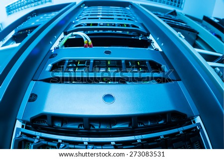 Network servers in data room . - stock photo