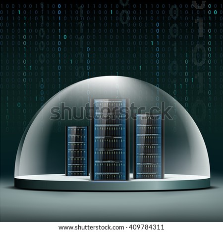Network servers under a glass dome. Security database from hacker attacks.  - stock photo