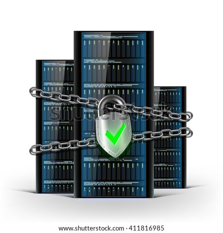 Network servers with a lock with chain. Security database. Stock illustration. - stock photo