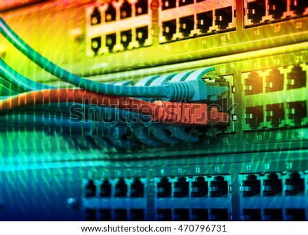 Network switch and ethernet cables transfer data,Data Center Concept.