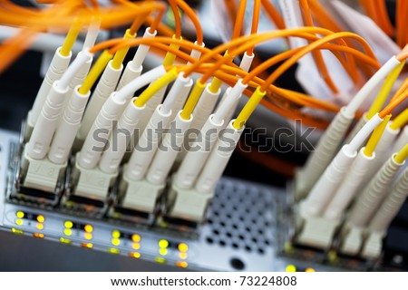 Network Switch. Closeup view with shallow DOF. - stock photo