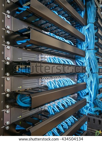 Network Switch Hub Ethernet Cables Rack Stock Photo