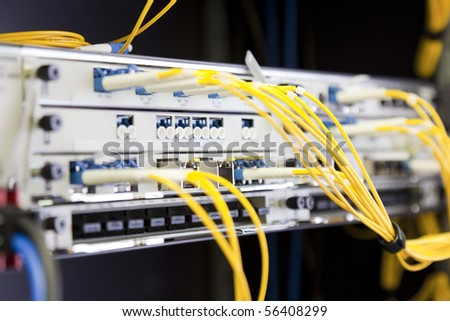 Network Switch with connected yellow cables