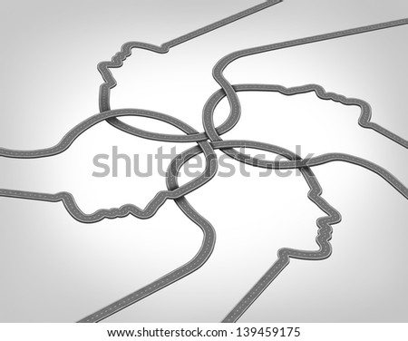 Network team business concept with a group of merging roads and highways shaped as a human head converging and coming together connected as a community partnership tat are crossing paths. - stock photo