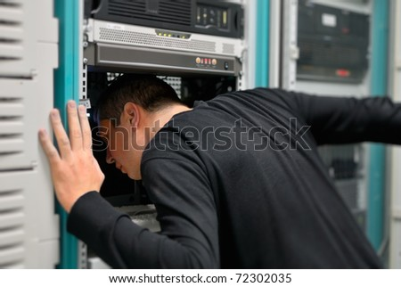 network technician is working now - stock photo