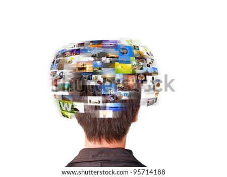 Network technology man has images rotating on his head. - stock photo