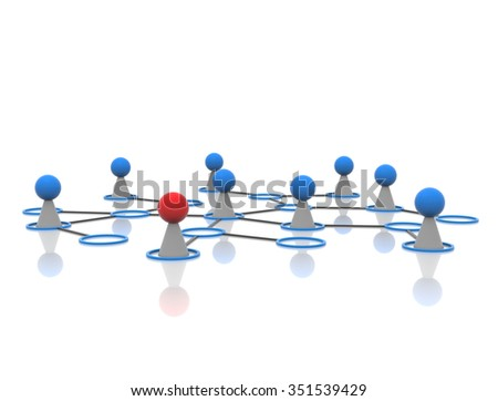 Network with circles - stock photo