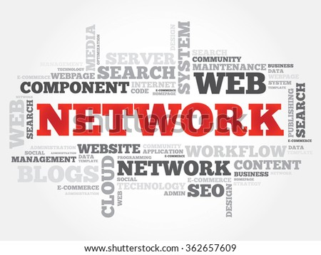 NETWORK word cloud, business concept - stock photo