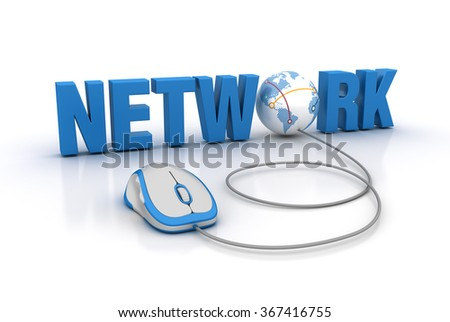 NETWORK Word with Computer Mouse - High Quality 3D Render