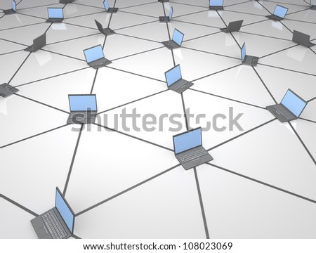 Networked computers - stock photo