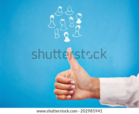 Networking - Business Hand showing thumb up - stock photo