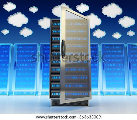 Networking communication technology and cloud data storage service concept, network and internet telecommunication equipment in server room, data center with computers on blue background - stock photo