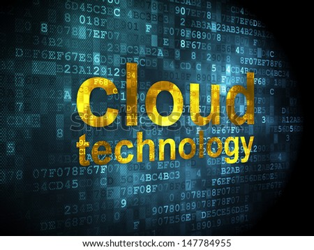 Networking concept: pixelated words Cloud Technology on digital background, 3d render
