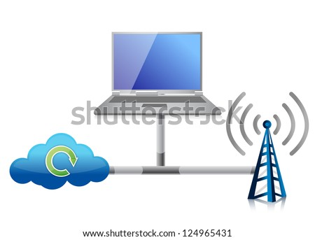 Networking icon illustration design over a white background - stock photo