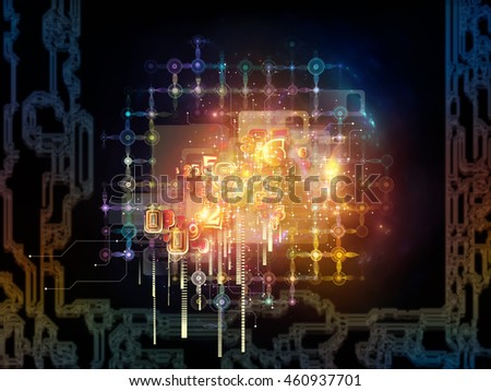 Networking Randomness series. Composition of numbers, lights and fractal elements on the subject of math, science and technology