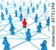 Networking success strategies on the internet with people connected together with one member in red and the other group in blue part of  a social gathering. - stock photo