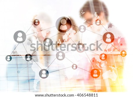 Networking system and businesspeople. Double exposure - stock photo