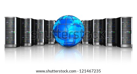 Networking, web cloud computing and telecommunication service internet concept: row of black network servers with blue glossy Earth globe world map isolated on white background with reflection effect - stock photo