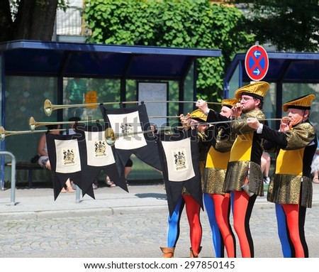NEUBURG AN DER DONAU - JULY 5: historical dressed trumpeters at the festival on July 5, 2015 in Neuburg, Germany. This is annually folk festival in renaissance city Neuburg in Bavaria, Germany  - stock photo