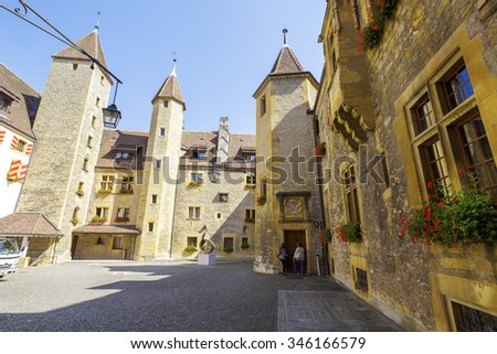 NEUCHATEL, SWITZERLAND - SEPTEMBER 09, 2015: Courtyard of the castle, architectural buildings date back to the 12th century. The Castle of Neuchatel is a Swiss heritage site of national significance