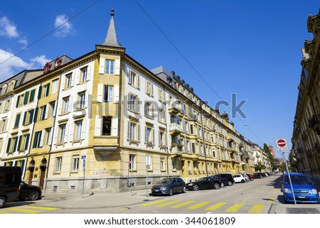 NEUCHATEL, SWITZERLAND - SEPTEMBER 09, 2015: Urban scene of architecture, view of residential buildings in the city with a population of approx. 34000 mainly French-speaking citizens - stock photo
