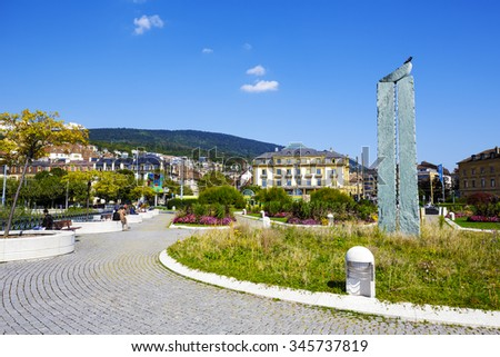 NEUCHATEL, SWITZERLAND - SEPTEMBER 09, 2015: View towards the city with a population of approx. 34000 mainly French-speaking citizens it is the capital city of the Swiss canton of Neuchatel  - stock photo