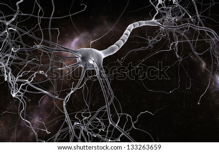 Neuron space, concept of neurons and nervous system. - stock photo