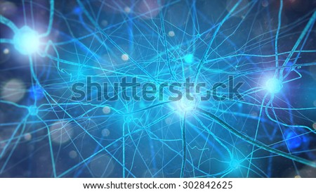 Neurons and nervous system. 3d render of nerve cells - stock photo